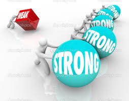 strong vs weak competing weakness against strength stock photo one person struggles to push a flat cube marked weak while competitors have an easy time winning the race balls or spheres marked strong