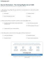 quiz worksheet the voting rights act of com print the voting rights act of 1965 definition summary facts worksheet