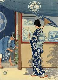 """Japanese Art Print """"Blue and White"""" by <b>Elizabeth Keith</b>, woodblock ..."""