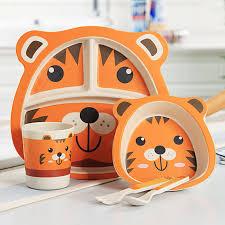 <b>5pcs</b>/<b>set Baby Dish</b> Training <b>Tableware</b> Children Cute Cartoon ...