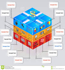3d cube with icons for business concepts business concepts
