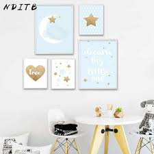 NDITB Dream Big Nursery Quotes Canvas Art Poster Print <b>Nordic</b> ...