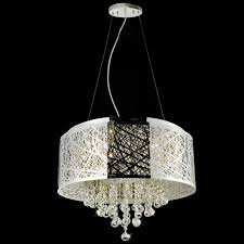 shade chandelier lighting picture of 22quot web modern laser cut drum shade crystal round pendant chandelier chandeliers pendants wayfair drum lighting