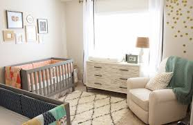 image of gender neutral baby bedroom decoration using light yellow baby room wall paint including light green wood baby dresser with changing table and baby nursery yellow grey gender neutral
