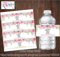 <b>20pcs</b> Custom Elephant Girl Baby Shower Floral Water Bottle Labels ...