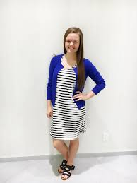 teen style defining business casual simply family magazine knee length dress paired sweater provides a pop of color and coverage