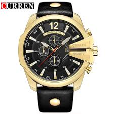 curren 2018 luxury golden case blue leather luminous hands 3 dial decoration waterproof male clock mens quartz sport watches