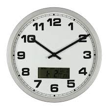 office wall clocks large wm widdop silver office wall clock lcd day date calendar dial cafe lighting 16400 natural linen