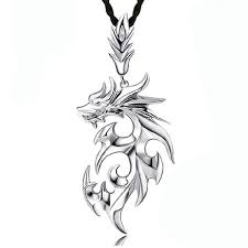2019 T146 Japanese Korean Flame Dragon Mens <b>Necklace Baqi</b> ...