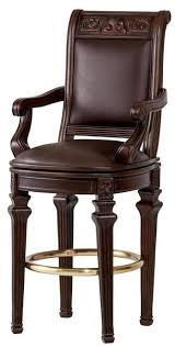 Set of <b>2</b> Hazelnut Carved Wood Frame Brown Leatherette Swivel ...