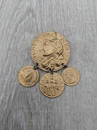 British Empire Replica Coin Gold Tone Dangle Brooch | Etsy