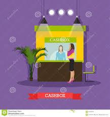 vector illustration of bank cashier cashbox customer standing vector illustration of bank cashier cashbox customer standing near it