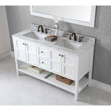 bathroom vanity 60 inch: virtu usa winterfell  in w x  in d x   in h white middot ackley  inch white finish double sink bathroom vanity cabinet