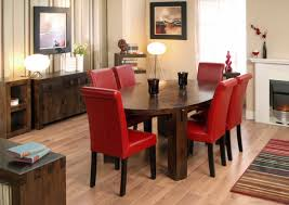 dining table parson chairs interior: oval dining table wood with lovely red pad parson chairs full size