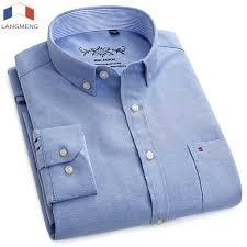 <b>LANGMENG</b> 2018 <b>plus size 5xl</b> 60% Cotton Oxford Shirt New Men ...