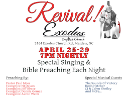 revival exodus baptist church print revival flyer