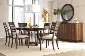pc dining set light oak solid  dining room round brown varnished wooden dining table combined