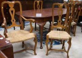 walnut cherry dining: queen anne style cherry dining table and a set of eight provincial baroque style walnut