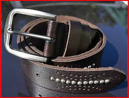 AU Stainless <b>Steel</b> Buckle <b>3.8 cm</b> Wide Studded Genuine Leather ...