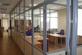 fixed partitions lightweight walls consisting of aluminium profiles and infilling of glass including inbuilt blinds with adjusting mechanism aluminum office partitions