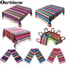 <b>OurWarm Mexican</b> Party Supplies Pink Blue Table Runner Serape ...