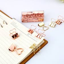 <b>10pcs Fashion</b> Gold <b>Rose Gold</b> Color Binder Clip Hollow Out Heart ...