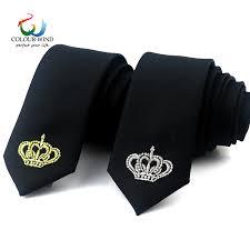 Fashion Crown Ties For Men Plaid Tie Black <b>5CM Embroidered</b> ...