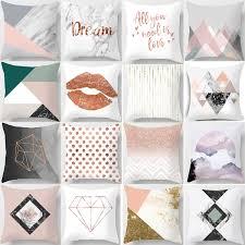 <b>Nordic</b> Simple <b>Pink Marble</b> Geometric Cushion Cover Peach Velvet ...