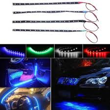 2in1 Blue <b>12 LED Car</b> Interior Atmosphere Glow Decor Neon Light ...