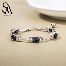 <b>SA SILVERAGE 925</b> Sterling Silver Rectangle Stone Chain ...