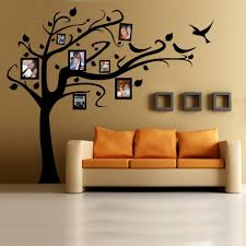 wall decal family art bedroom decor black tree wall mural and family picture ideas inside minimalist room with cream sofa on grey