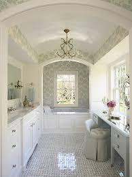white bathroom floor: glossy master bathroom floor plans with floral wallpaper and white bathroom furniture