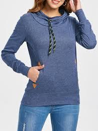 Hoodies | Purplish Blue M <b>Drawstring Pocket Design Embroidered</b> ...