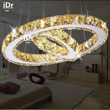 2 rings led pendant lights creative round restaurant modern crystal lamp living room dining room lighting cheap dining room lighting