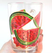 Watermelon Mug Painted glass mug Summer gift Personalized ...