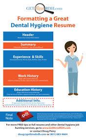 best images about rdh job hunting tips dental formatting a great dental hygiene resume gethiredrdh com