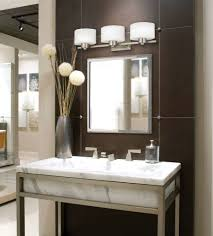 delightful home bathroom lighting fixtures design with stainless steel base combined three bulb medium size as bathroom lighting and mirrors