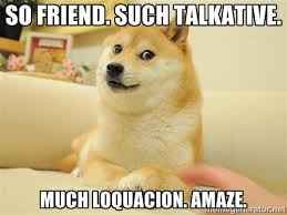 SO FRIEND. SUCH TALKATIVE. MUCH LOQUACION. AMAZE. - so doge | Meme ... via Relatably.com