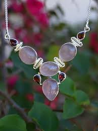 rose quartz garnets necklace silver overlay over copper 49 2cm n1062