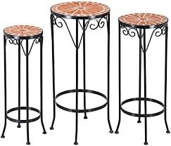 <b>Plant</b> stand <b>mosaic</b> garden table steel <b>side table</b> stackable set metal ...