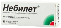 <b>Небилет</b>, <b>5 мг</b>, таблетки, <b>14</b> шт., Berlin-Chemie AG/Menarini Group ...