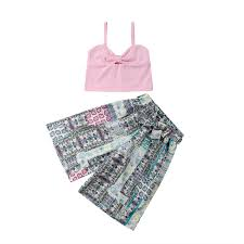 Kids Baby <b>Girl Summer Clothes</b> sleeveless solid strap pullover ...