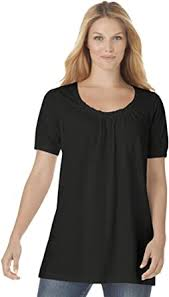 Woman Within Women's <b>Plus Size</b> Perfect Short-Sleeve Shirred <b>U</b> ...