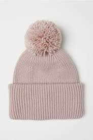Вязаная <b>шапка</b> с <b>помпоном</b> - Пудрово-розовый - Женщины | H&M ...