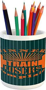 Ambesonne Fitness Pencil Pen Holder, <b>Winners Train Losers</b> ...