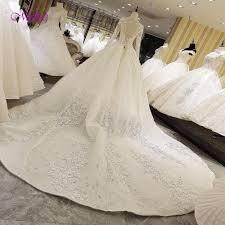 Fmogl <b>Glamorous Appliques</b> Royal Train Lace A Line Wedding ...