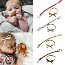 <b>Baby</b> braided <b>pacifier clips</b> holder soother <b>chain</b> strap with bowknot ...