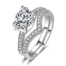 Engagement Rings Round Brilliant Cut <b>1ct</b> Cubic Zirconia <b>925</b> ...