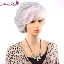Average Size <b>Amir Short Wig For</b> Women Synthetic Grey Hair Curly ...