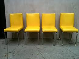 original and bright modern yellow leather dining chairs  dining
